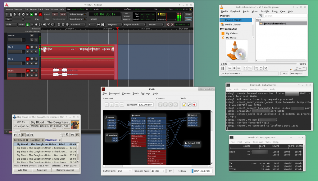 Screenshot: ardour, aqualung, catia, vlc, ssh tunnel, iftop